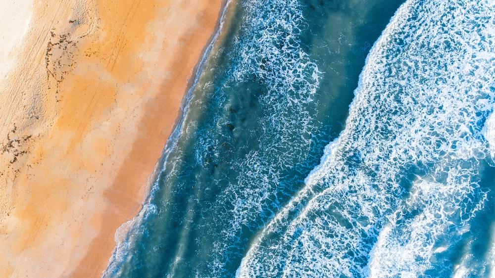 seawaves beside brown sand