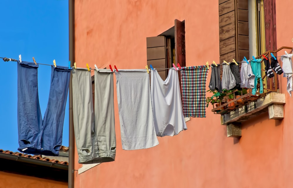 assorted-color hanged clothes