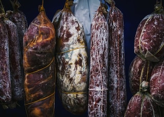 hanging raw meats