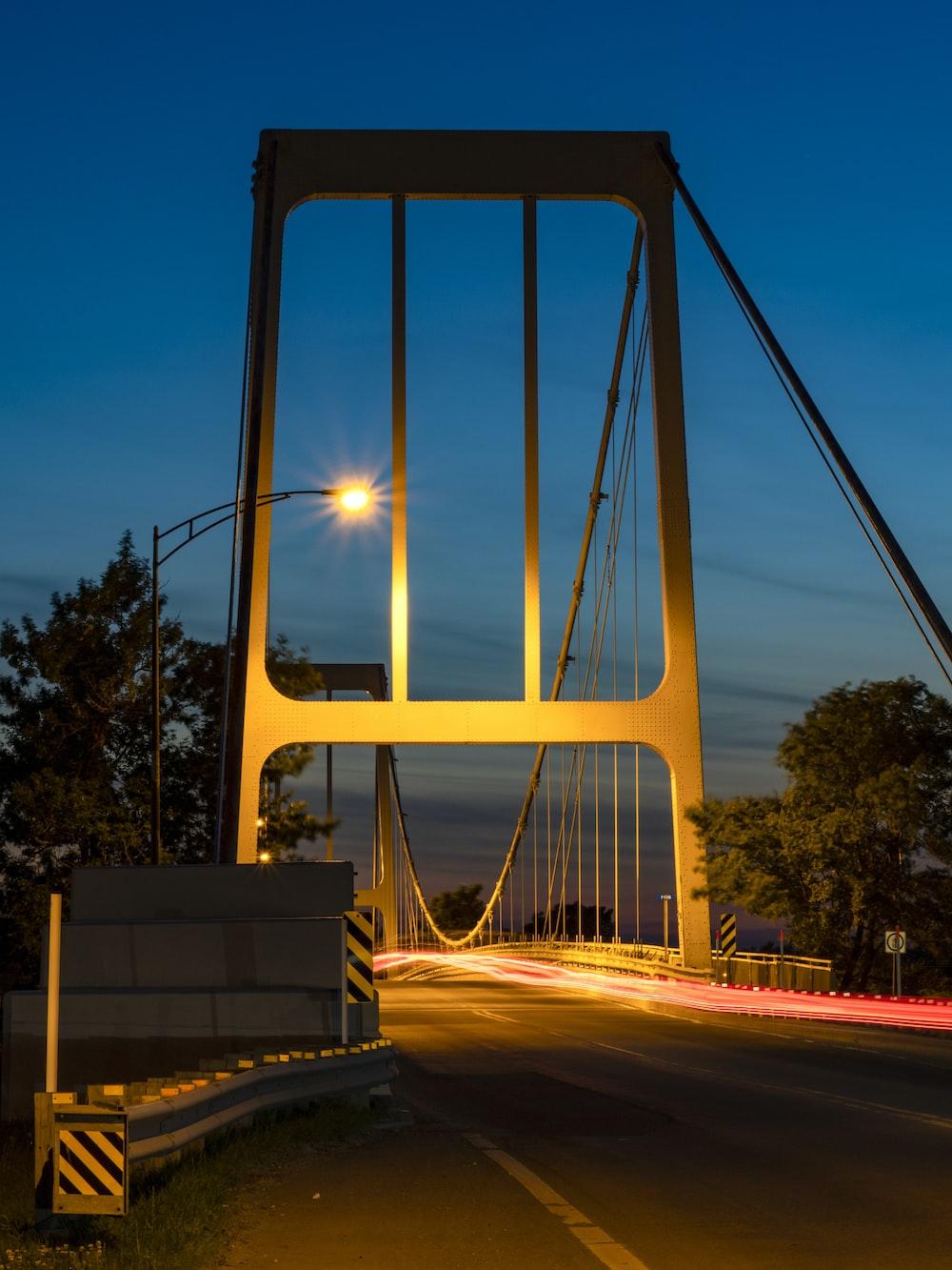 gray bridge during nighttime