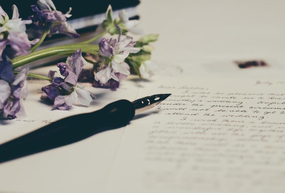 purple flowers on paper