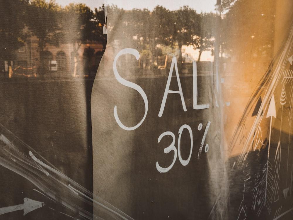black textile with Sale 30% print