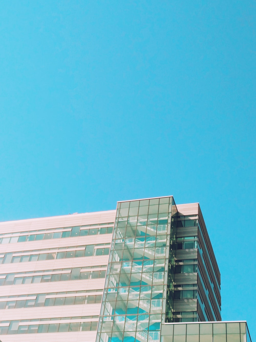 worm's-eye view photography of white building