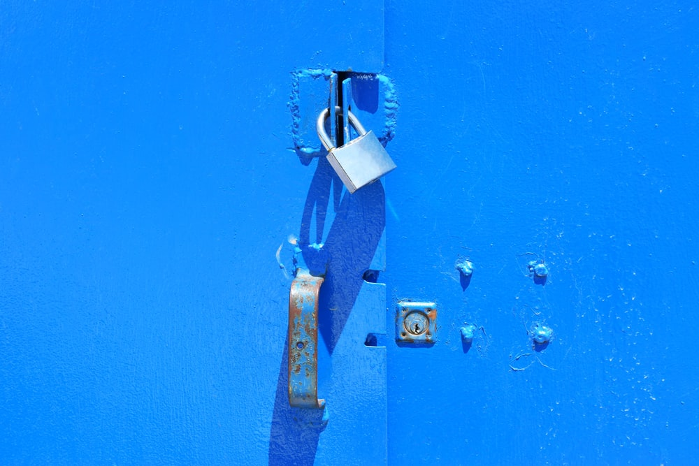 blue locked door