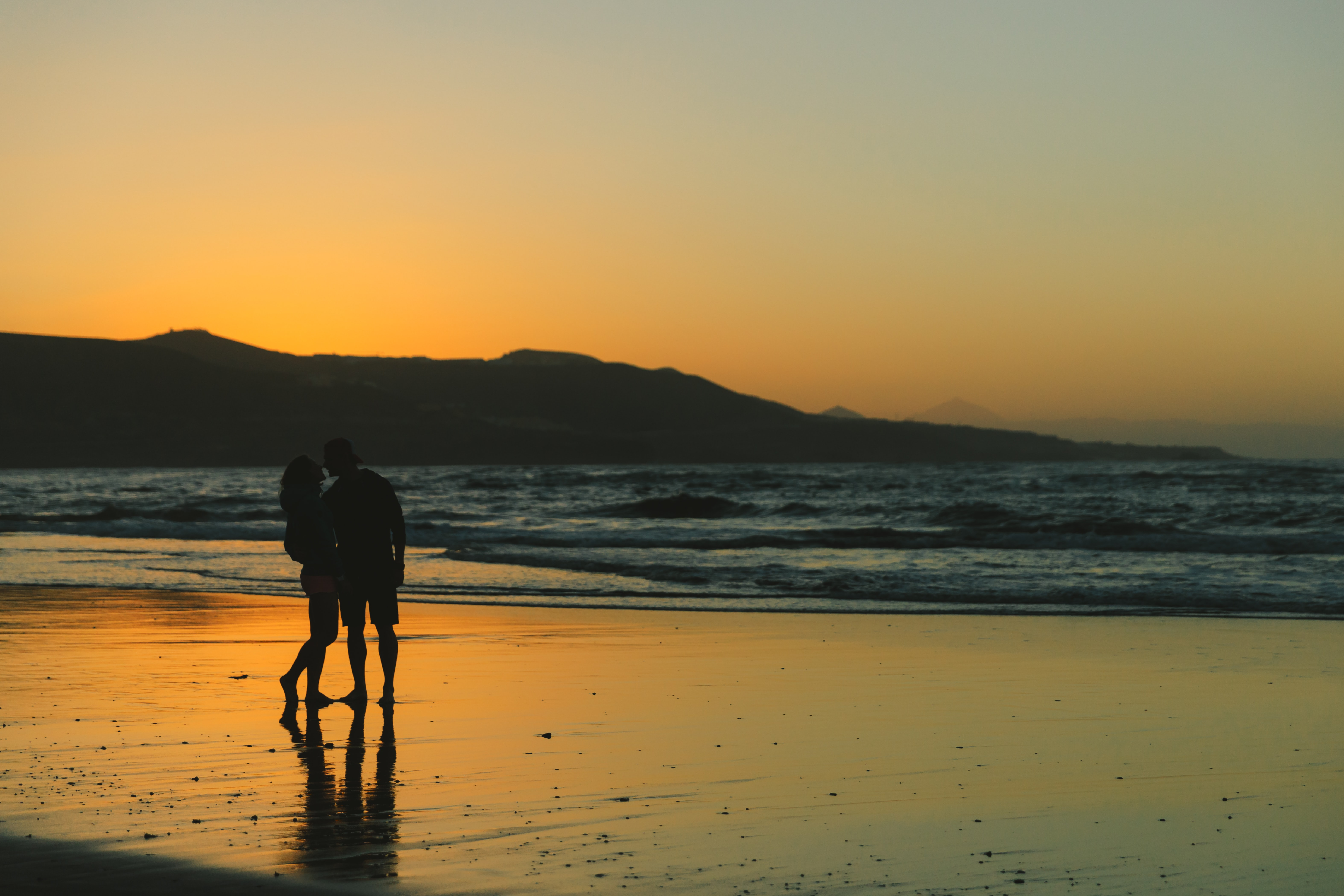 silhouette photo couple standing on shoreline during golden hour