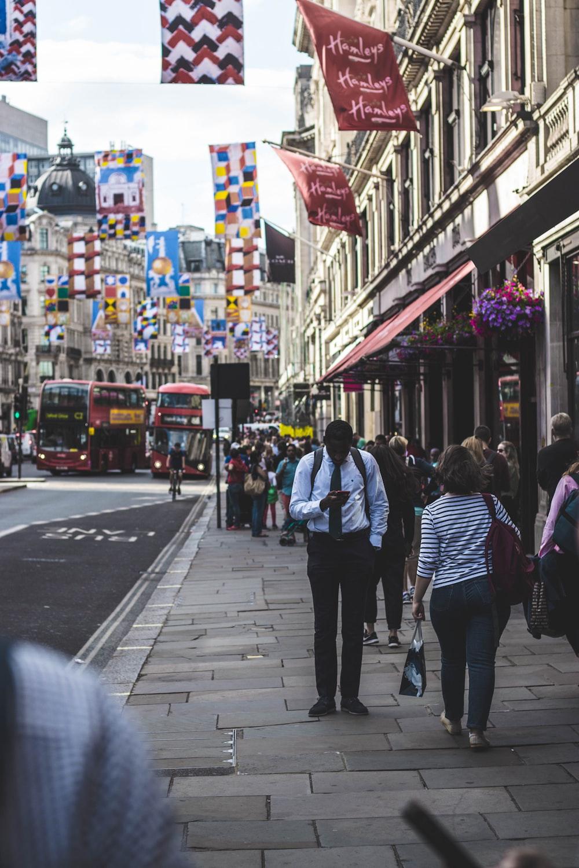 people walking beside the street