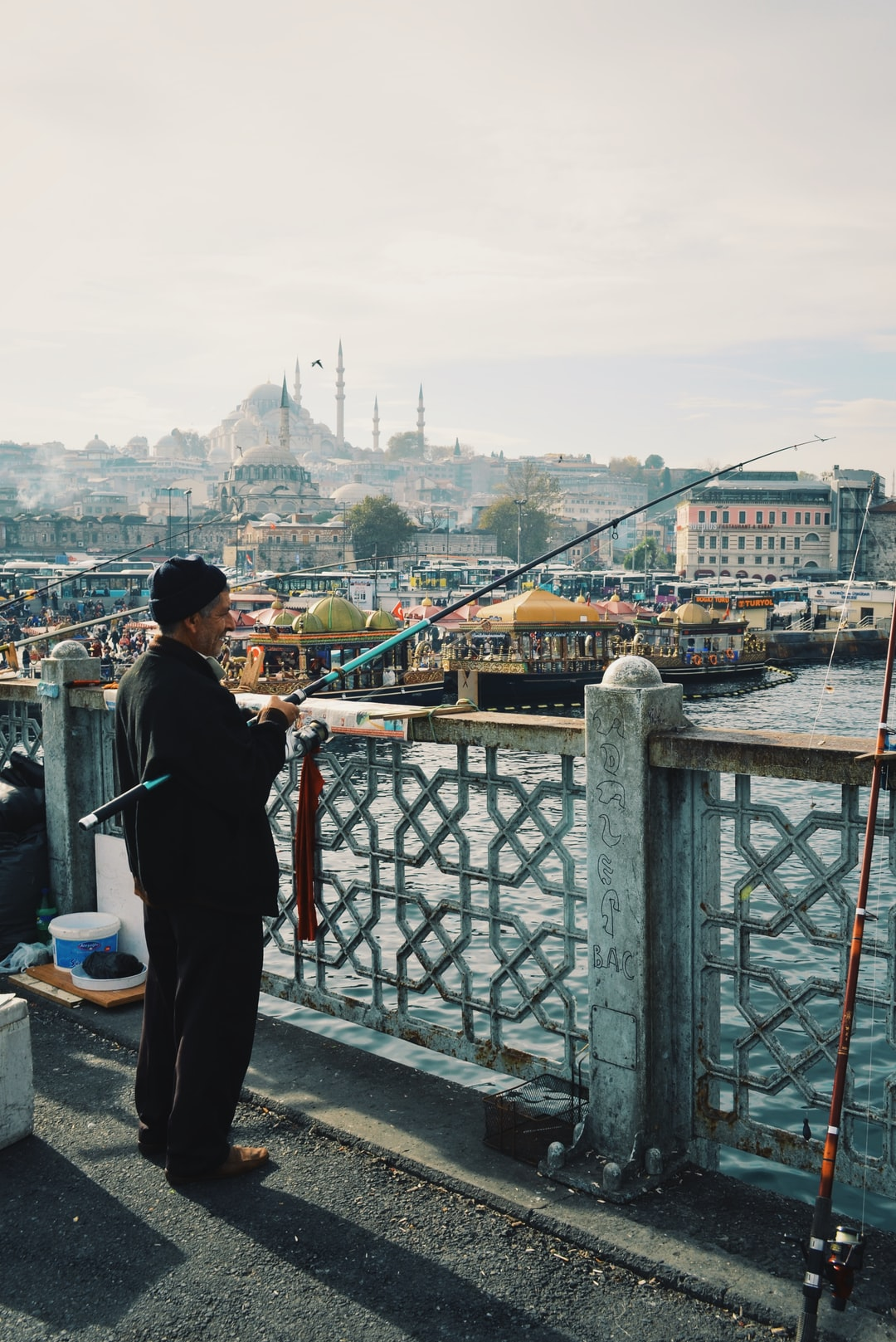 These fishermen are working daily on the Galata Bridge and taking the fish they catch to the market on the lower level of the walk. It's beautiful to contemplate their camaraderie and just enjoy a moment of serenity in the middle of the buzz from the 15 million citizens of Istanbul.