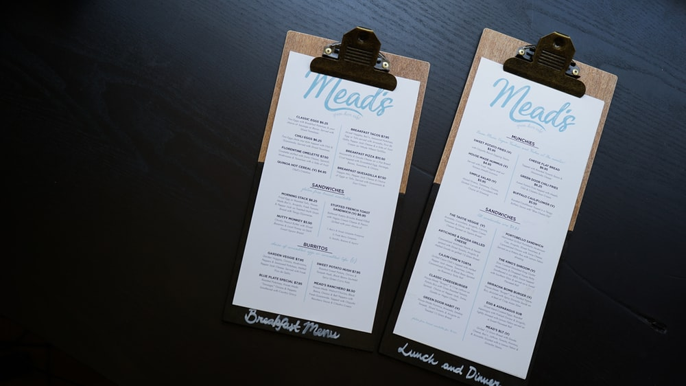 two Mead's-printed paper with clips