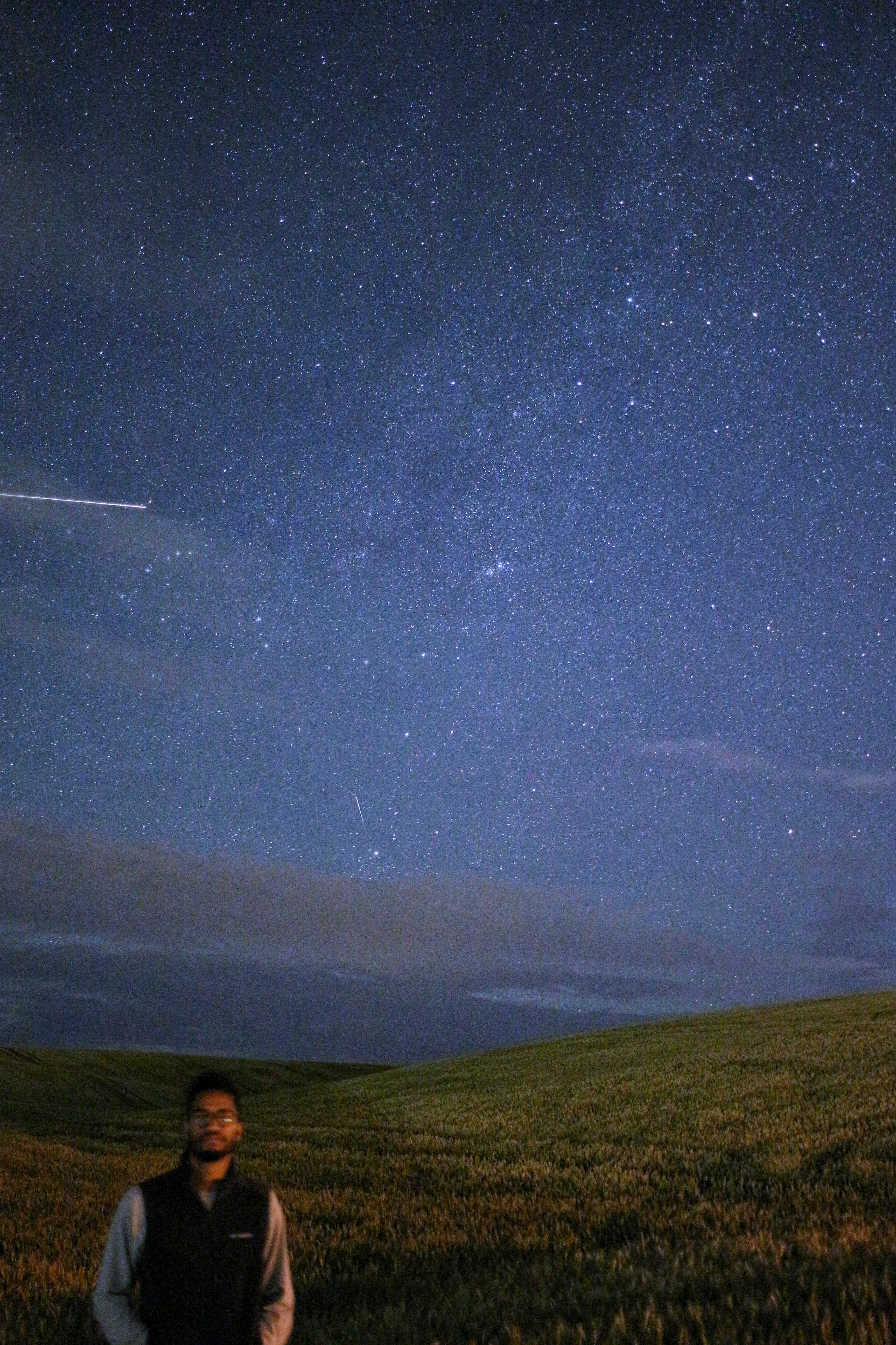 man standing on meadows under starry sky