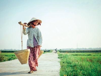 woman carrying basket on her shoulder vietnam teams background