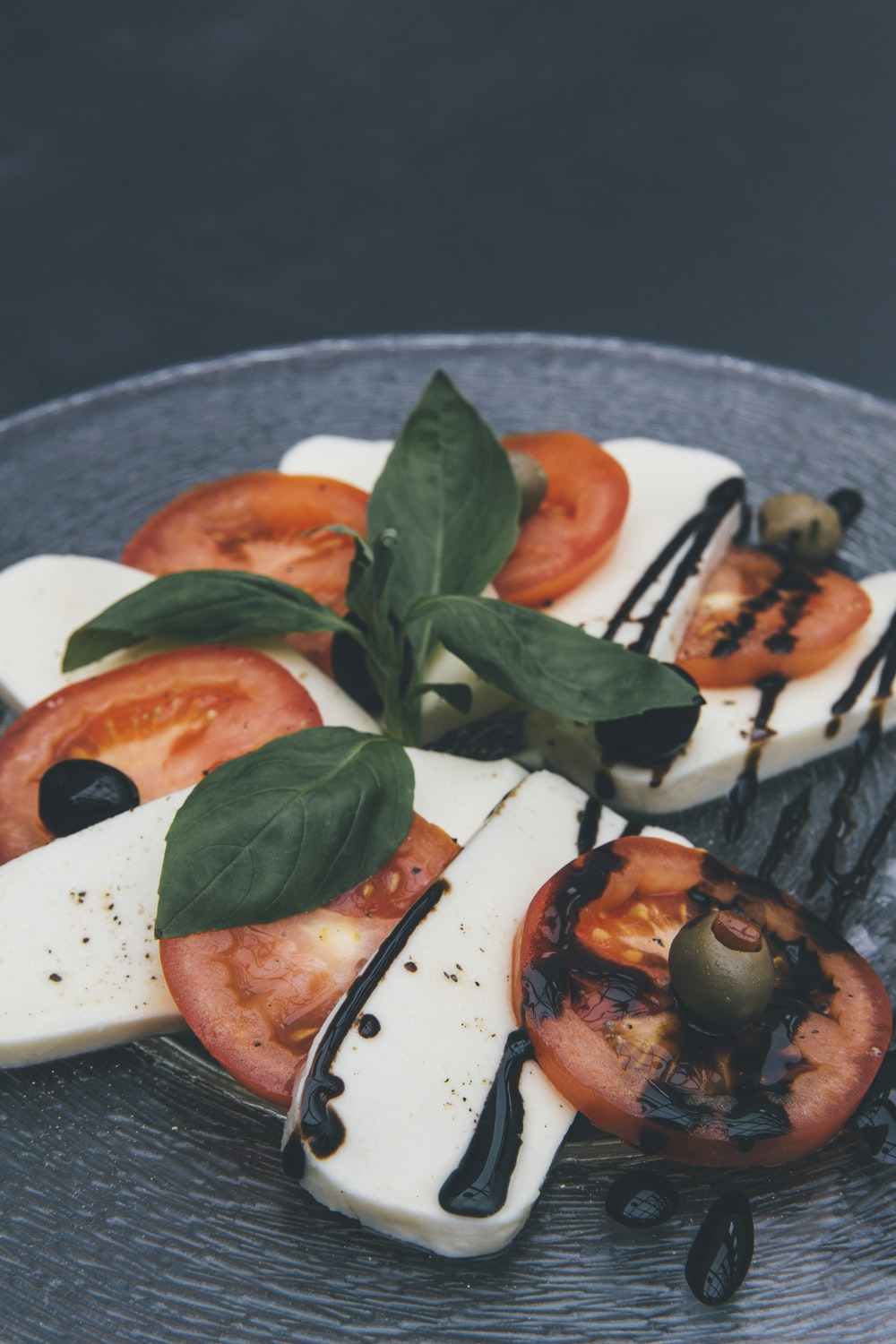 closeup photo of tofu and tomato slices
