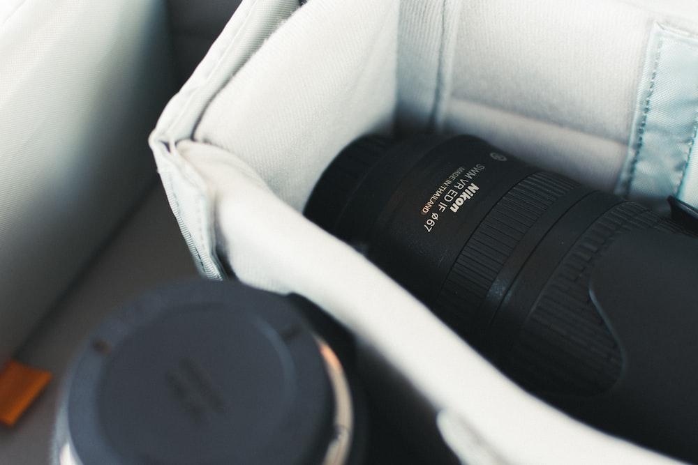 closeup photo of Nikon DSLR camera box