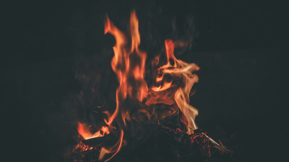 flame against black background