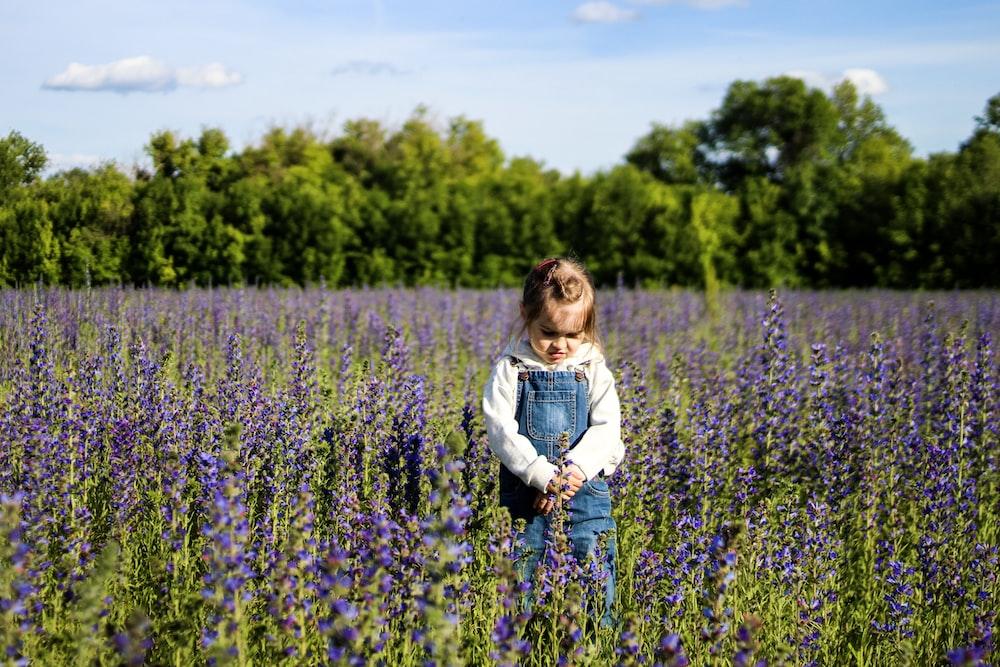 girl standing on purple flower field