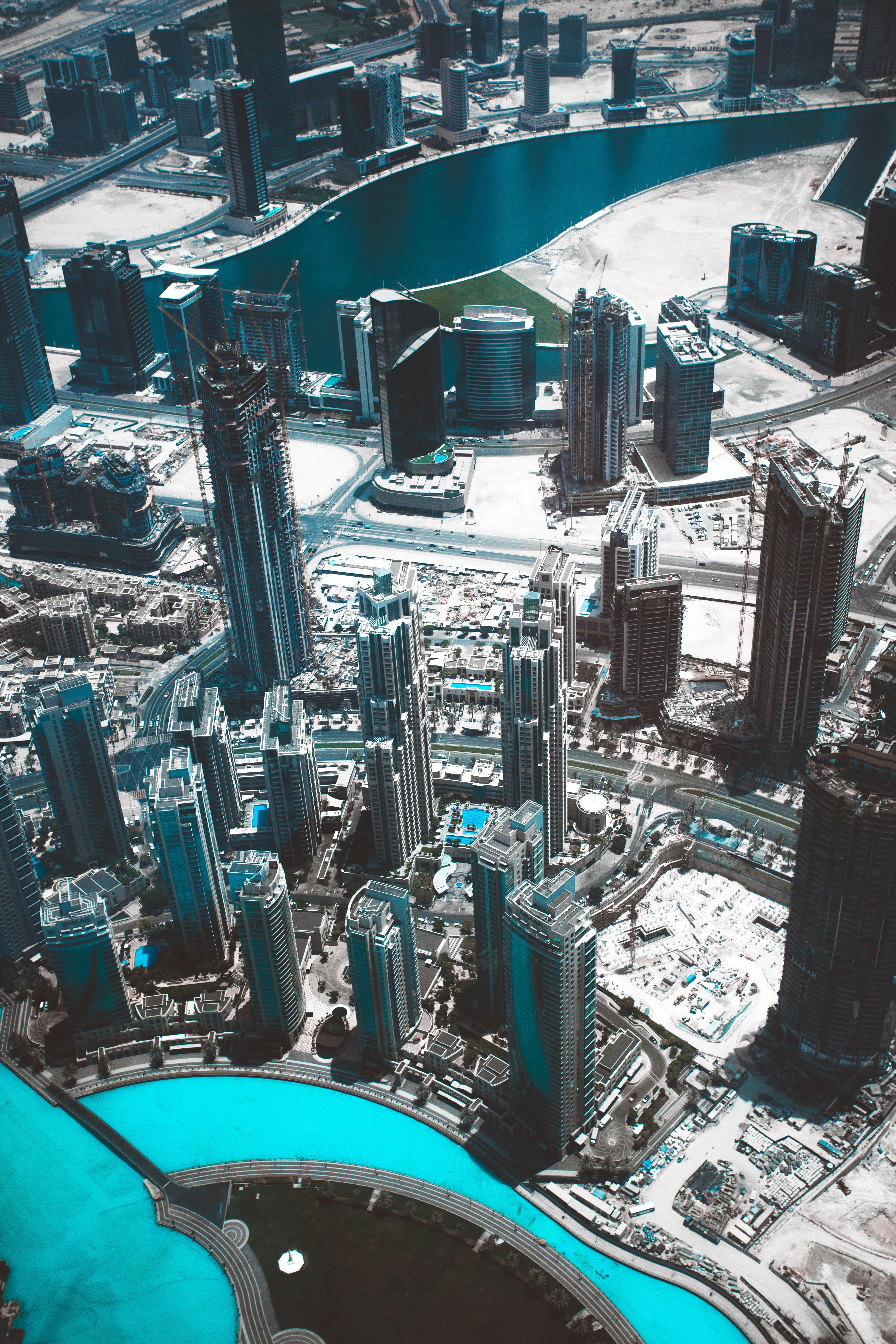 aerial shot of concrete buildings