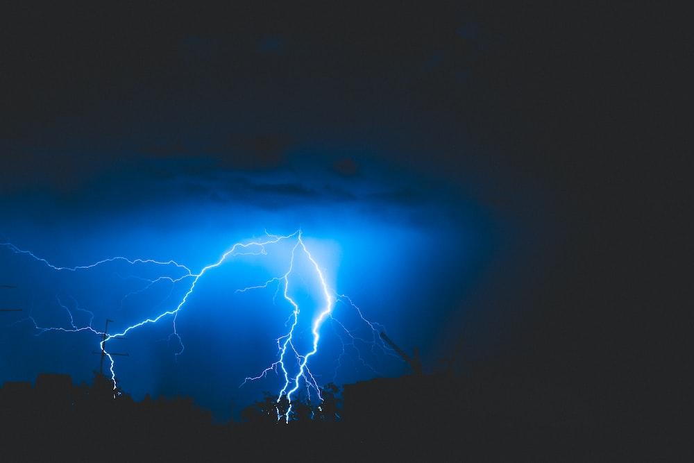 photo of lightning during nighttime