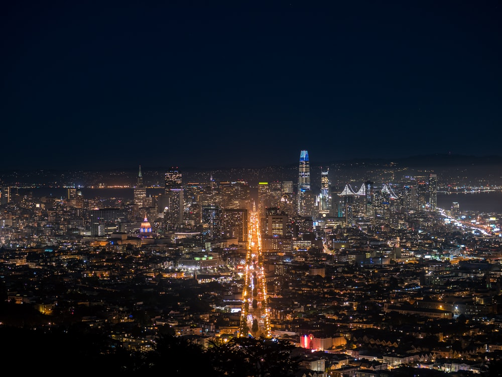 aerial photography of city at night
