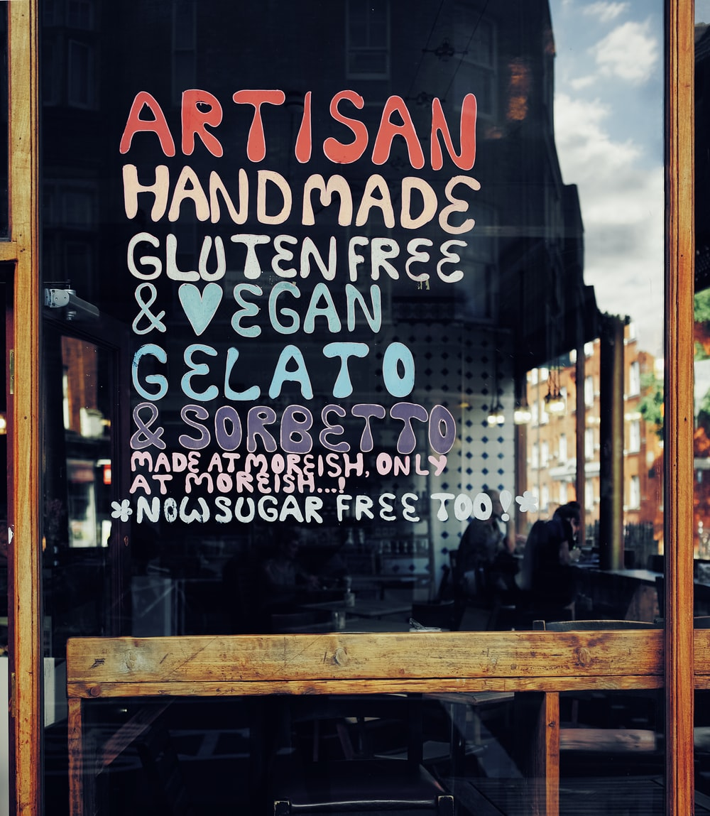 Artisan hand made gluten free text