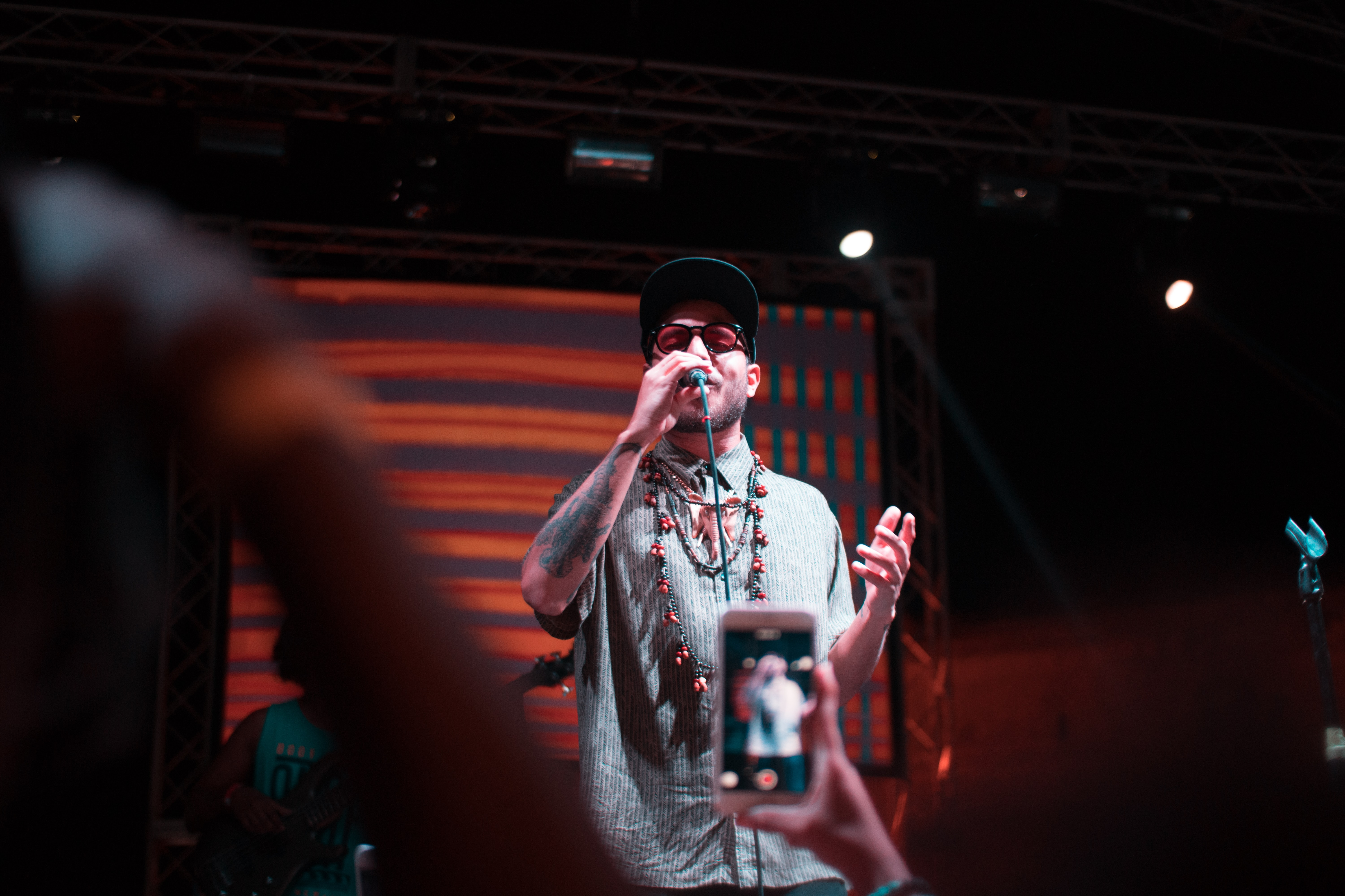 band vocalist performing on stage