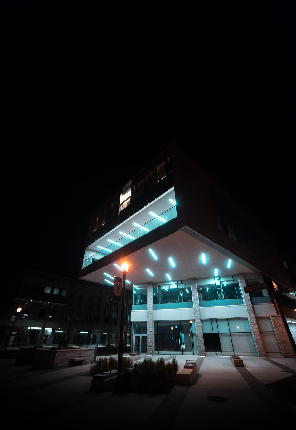 exterior of a multi-storey building during nighttime