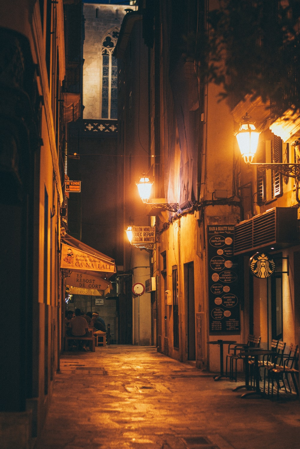 concrete hallway during nighttime