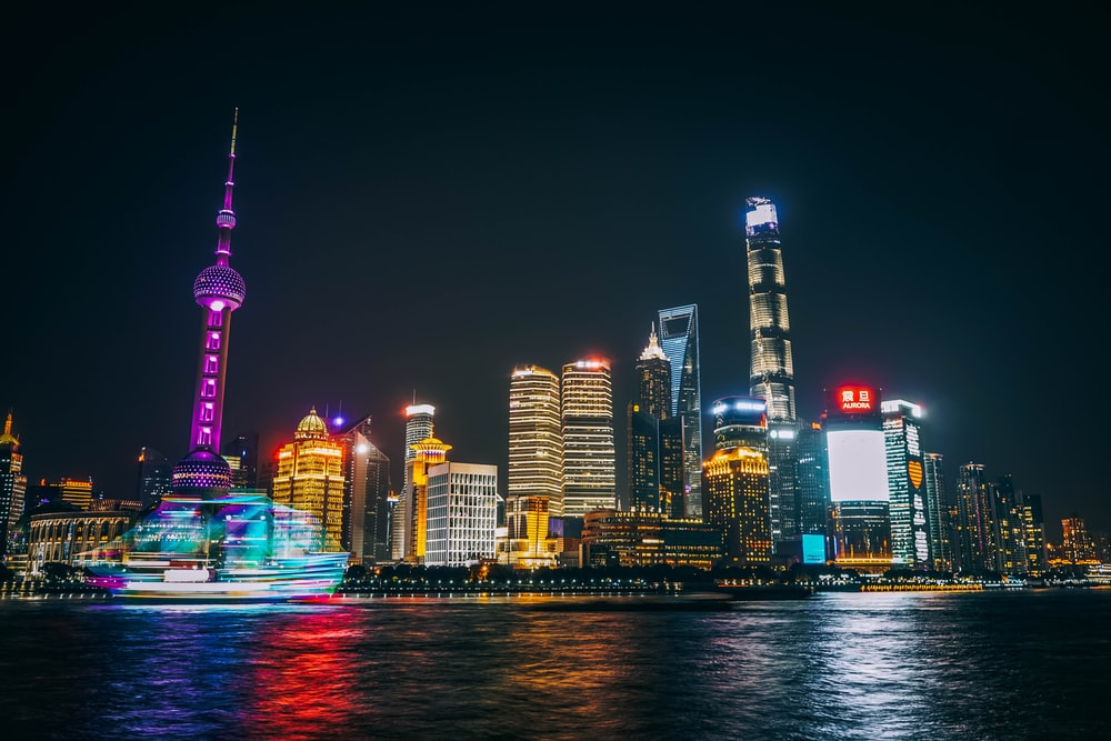 Oriental Pearl Tower and World Financial Center in China