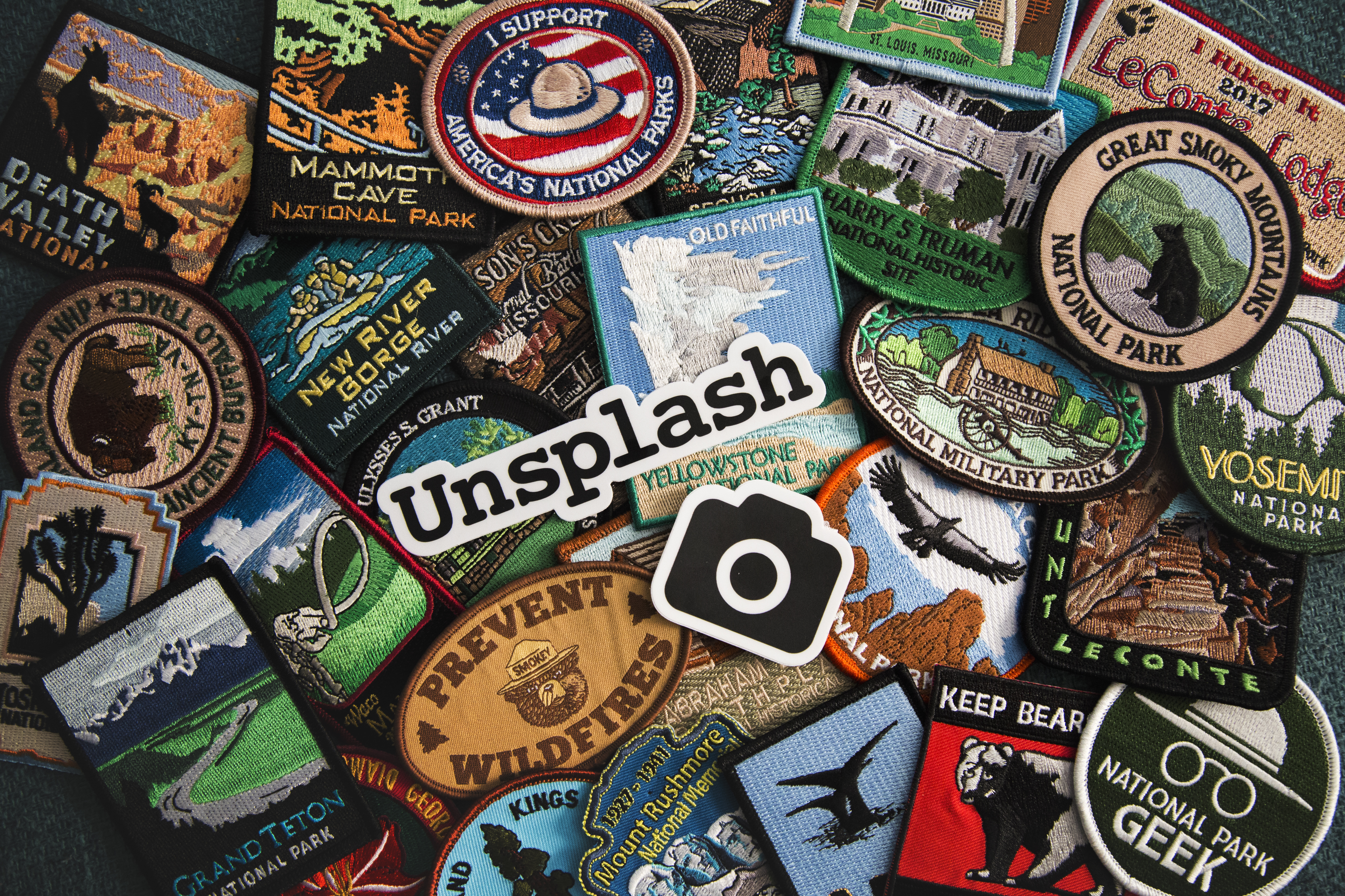 This photo is is a big thank you to Unsplash for sending me these awesome stickers. I thought they would pair well with my National Park Patch Collection.