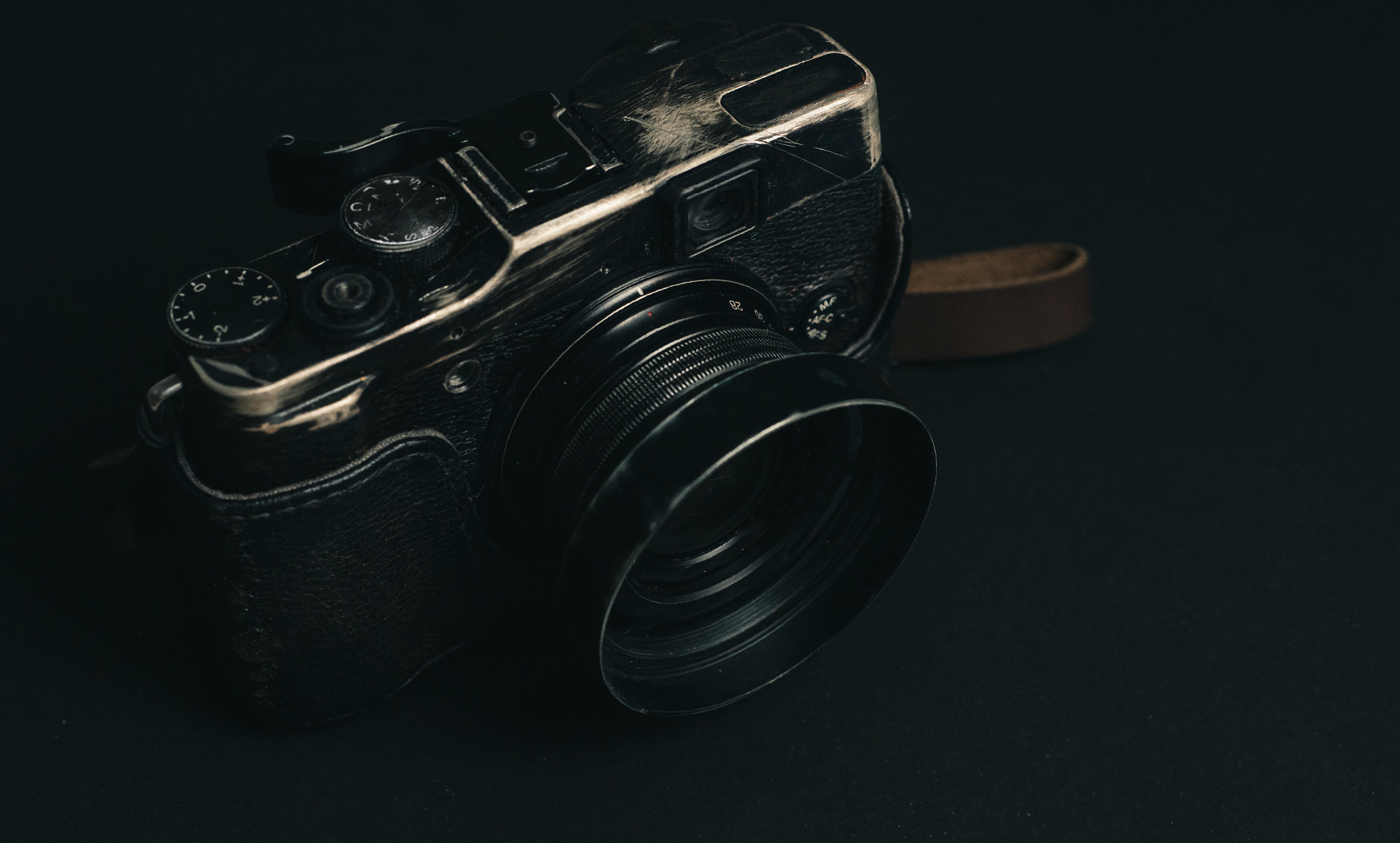 closeup photo of black film camera