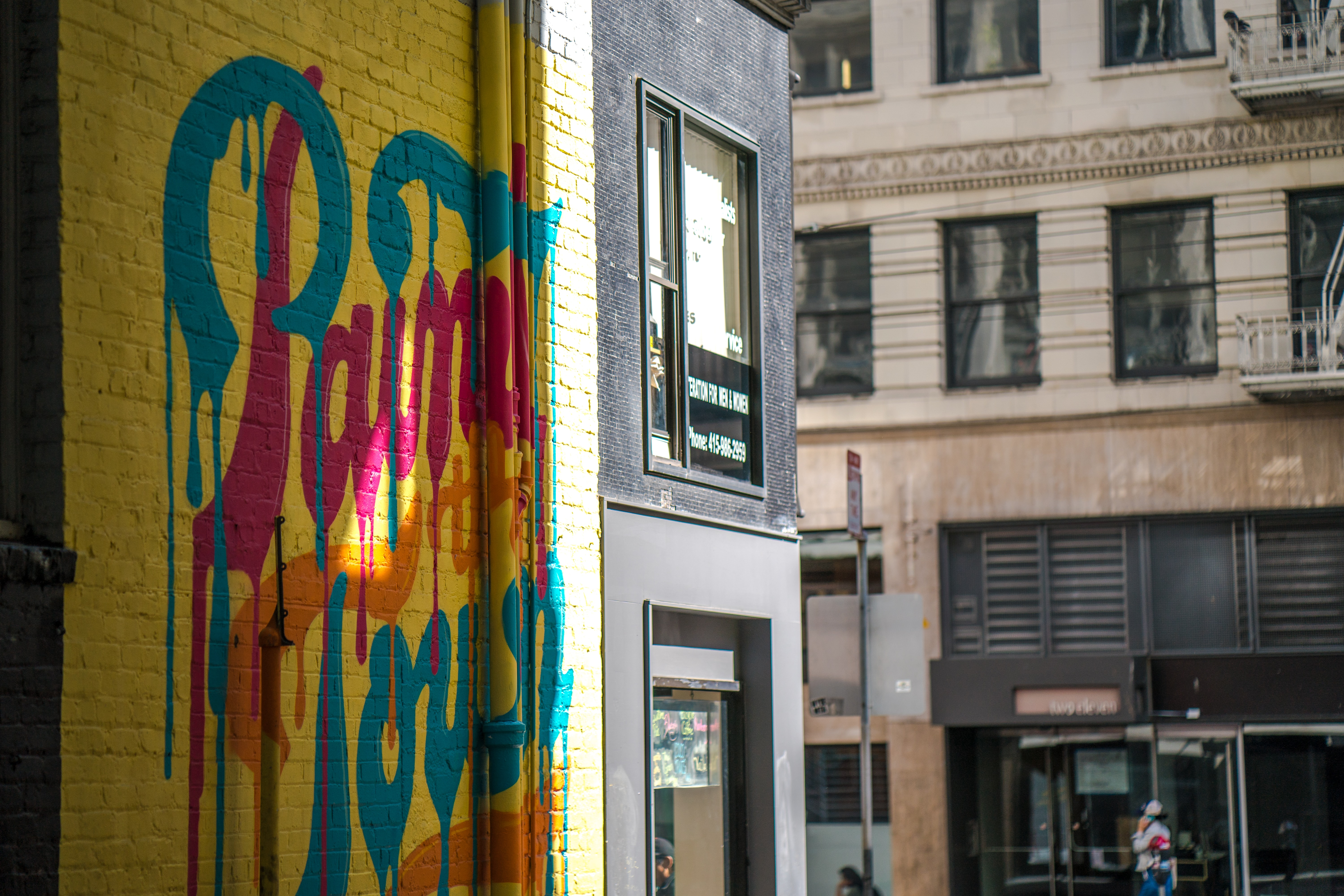 side view of graffiti at the alley