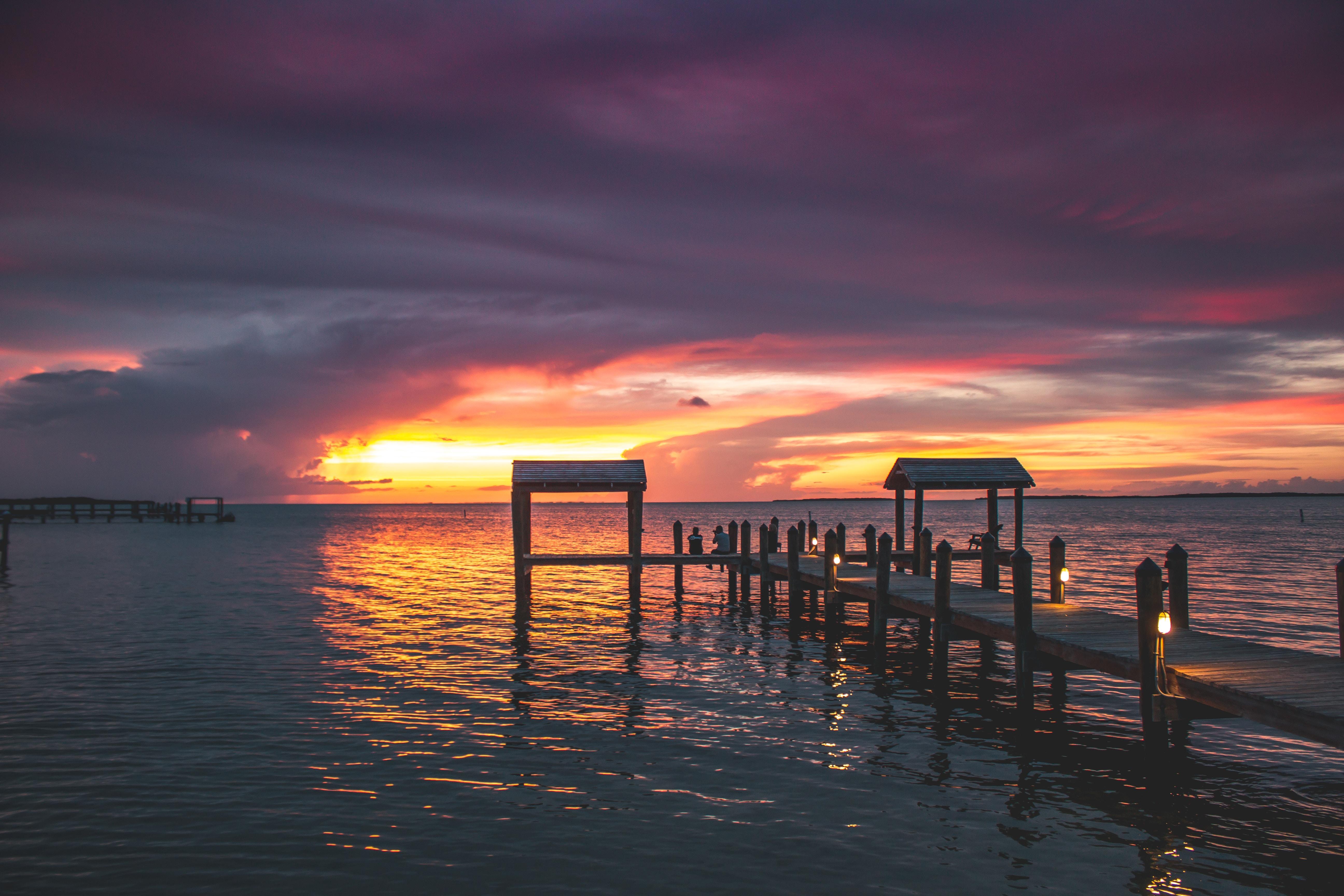 landscape photography of brown dock pier
