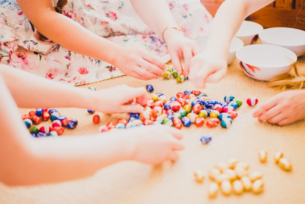 group of children playing egg chocolate