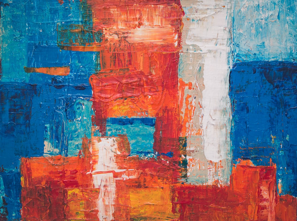 red, blue, and white abstract painting