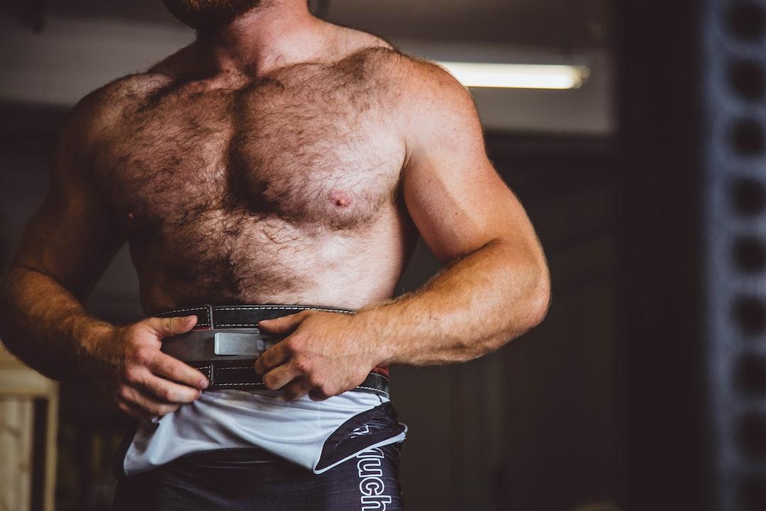 man wearing sauna belt