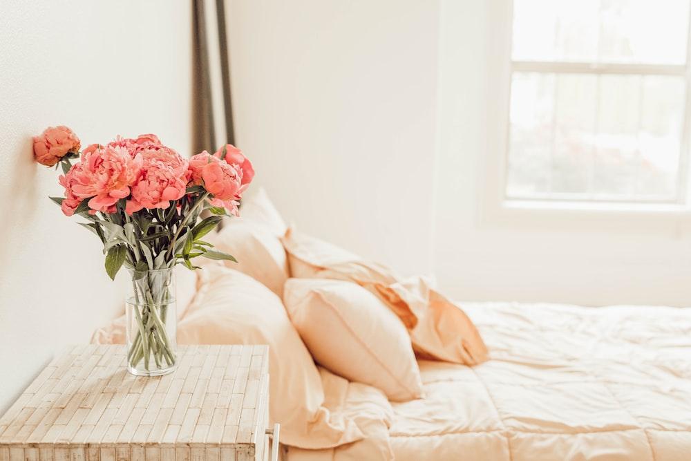 four orange pillows