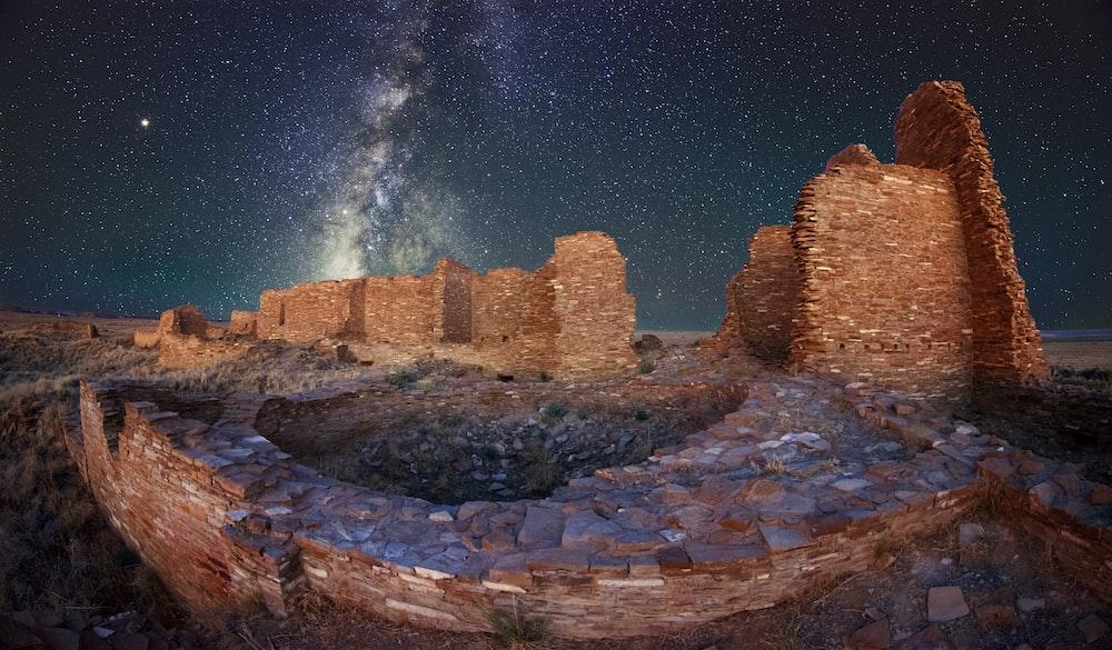ancient ruins under white stars