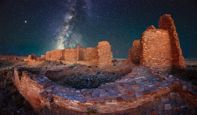 ancient ruins under white stars