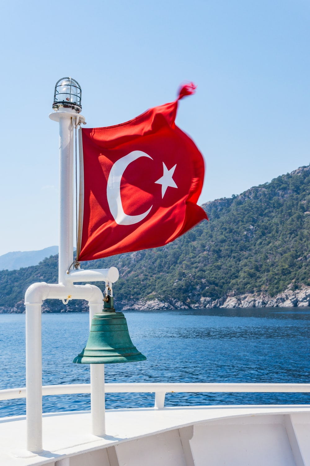 Turkey flag on pole with bell