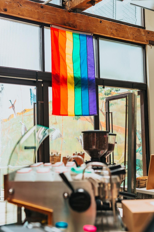 Rainbow flag hanging on door