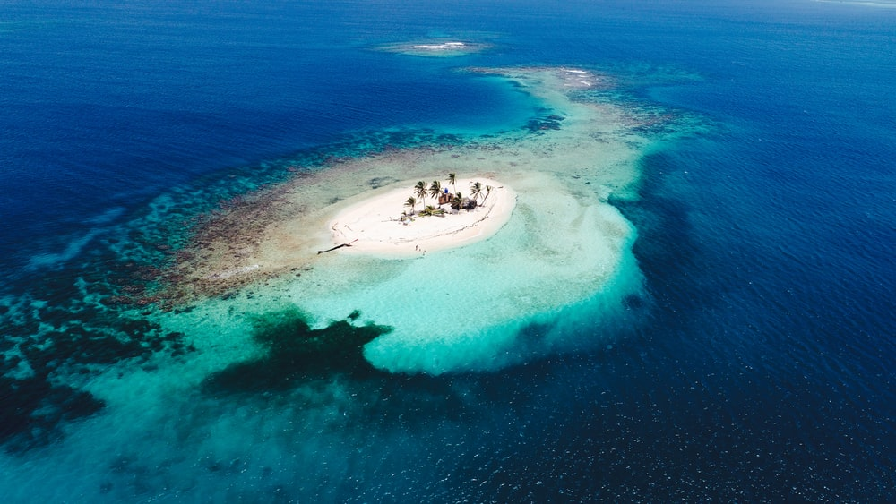 aerial photography of blue island