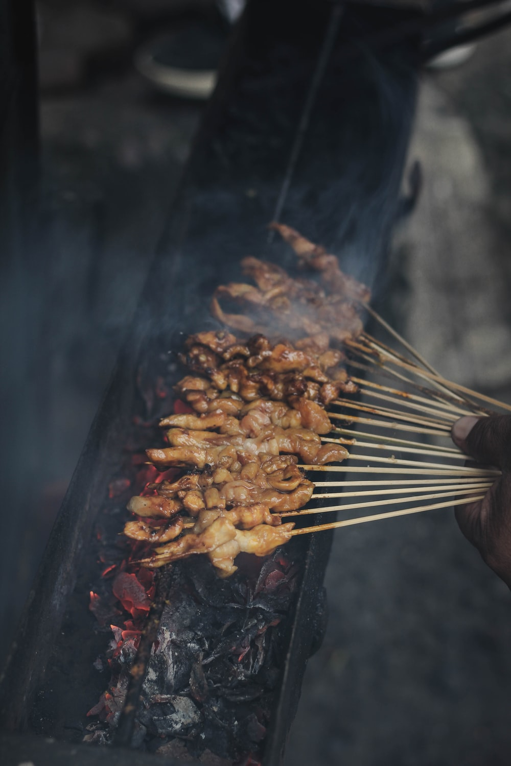 person holding skewered meat