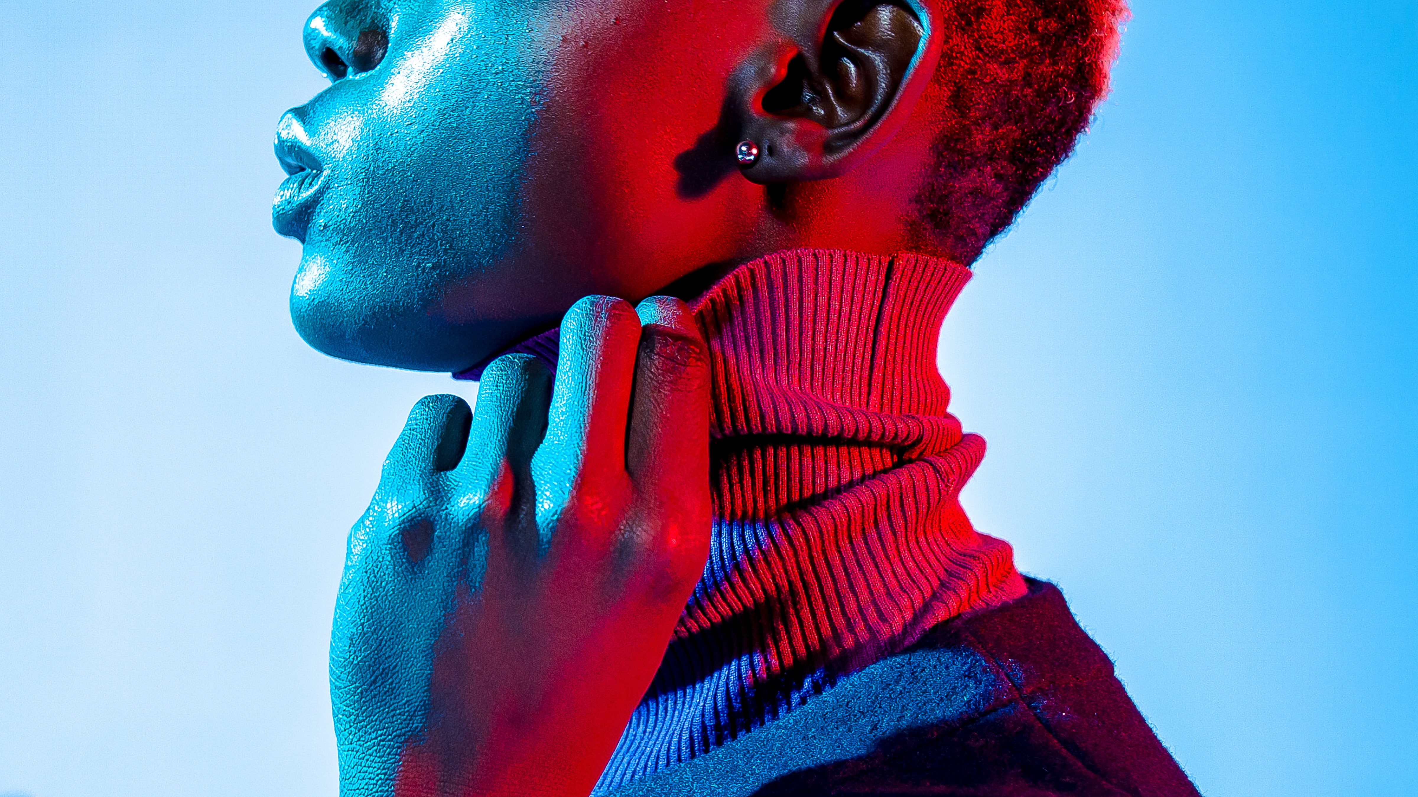 neon shaded contrasted fashion photography