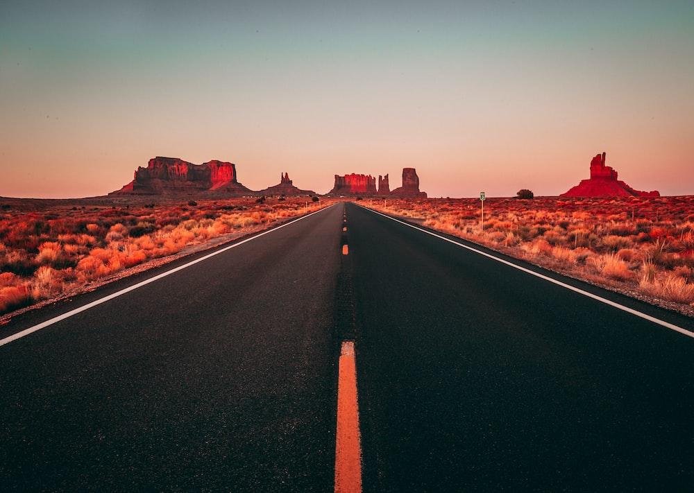 long exposure of black concrete road