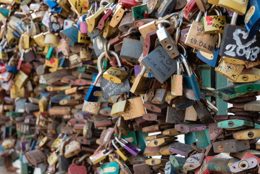 assorted locked padlocks