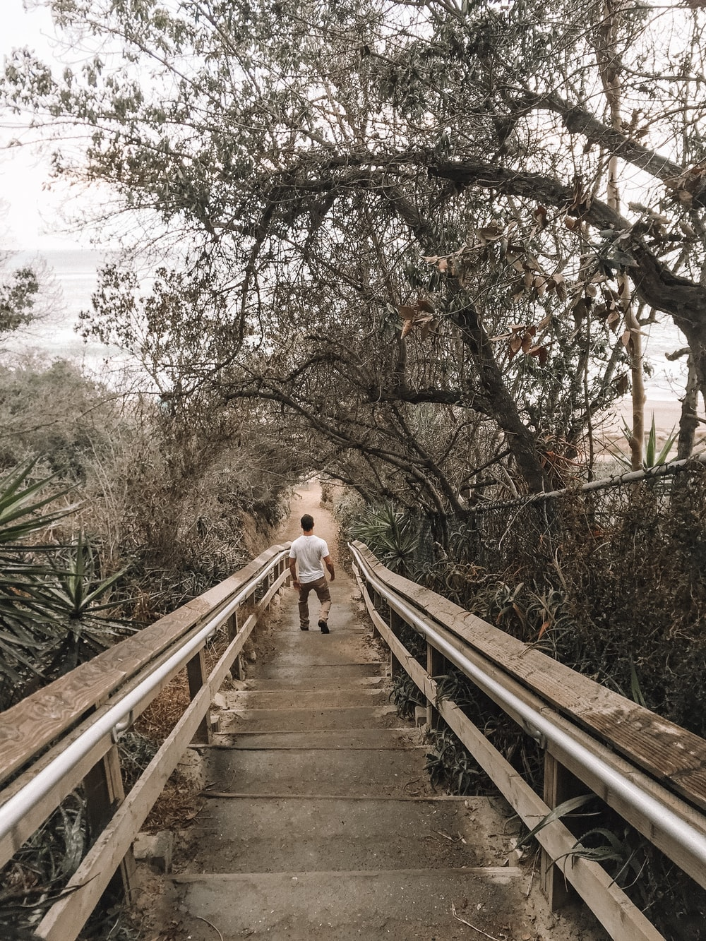 man walking down on gray staircase