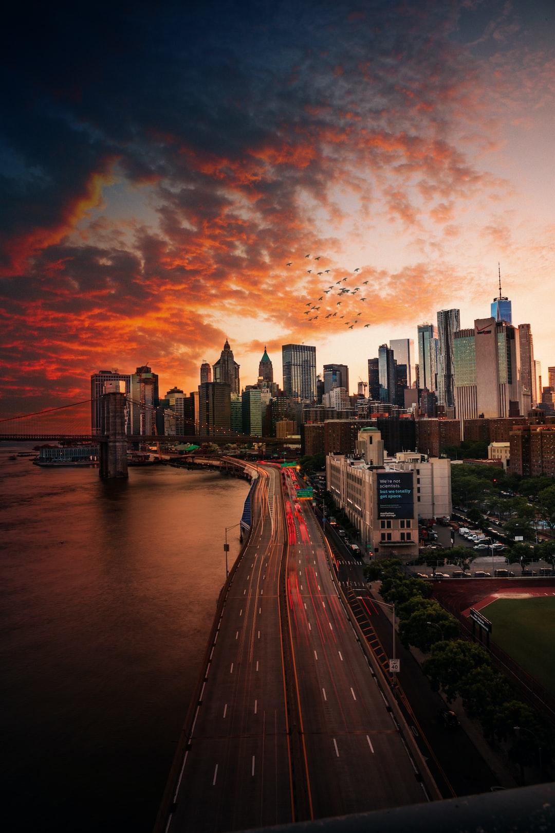 Sunset over Manhattan Bridge.