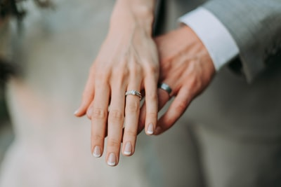 woman touch man's hand marriage zoom background