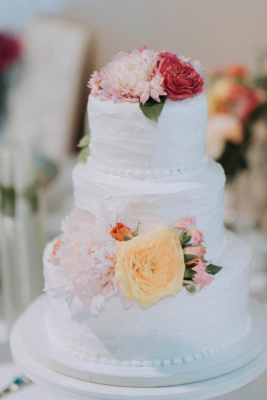 round white icing-covered 3-layer cake