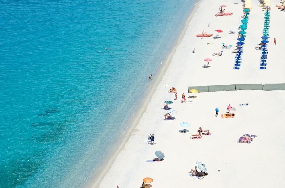 people on white sand beach high angle photo