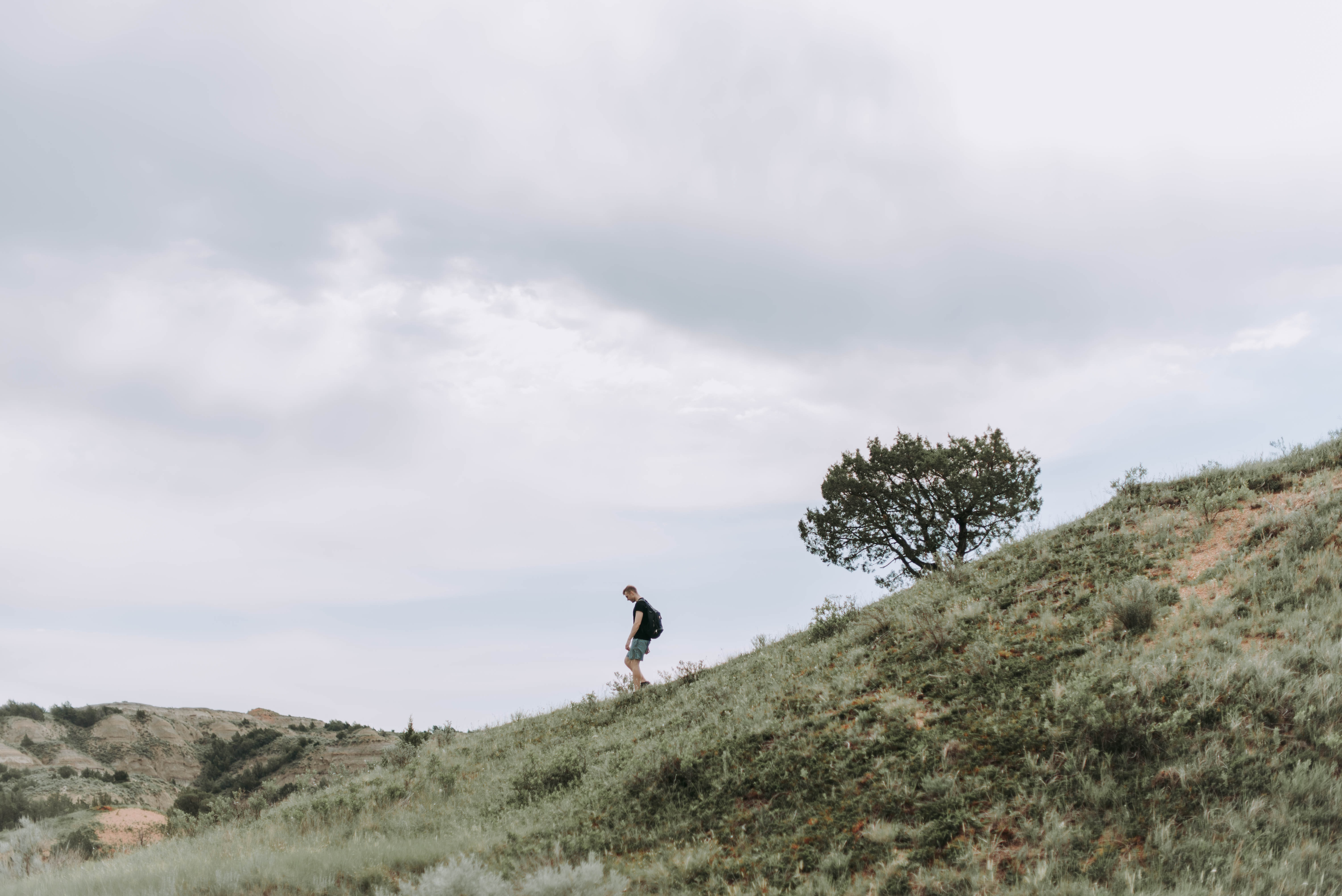 person standing on green grass mountain at day time