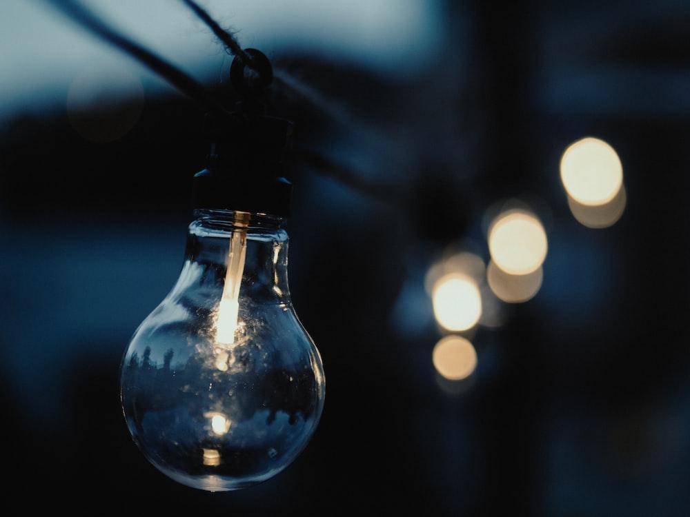 Edison bulb closeup photography